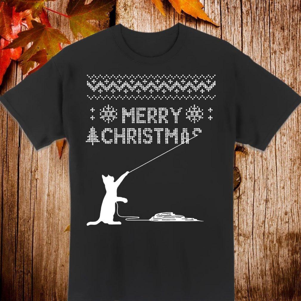 Cat fishing Merry Christmas ugly Shirt
