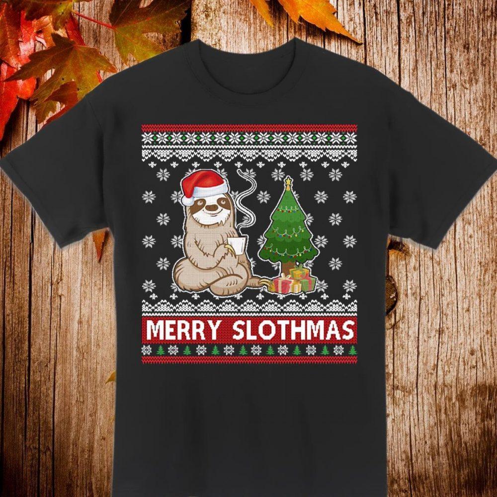 Santa Sloth Merry Slothmas Christmas Shirt