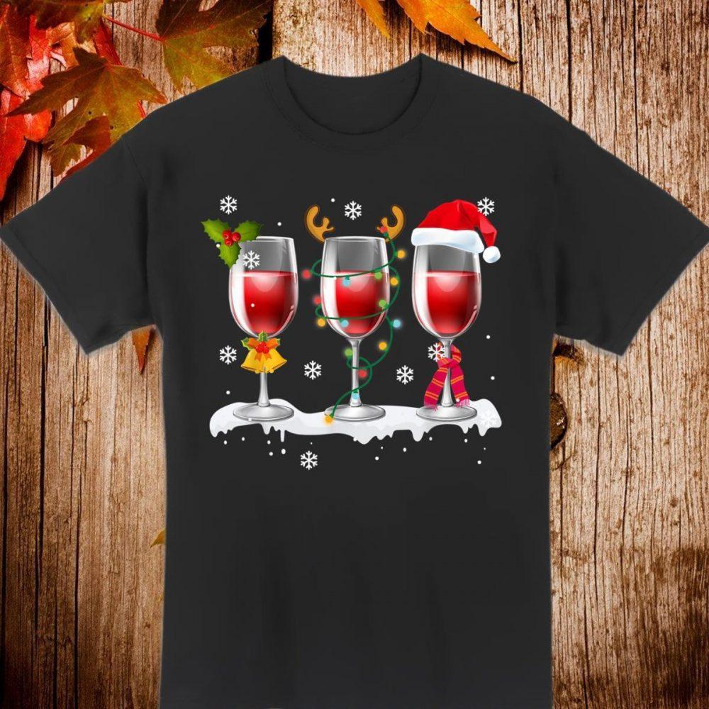 Three Glass of Red Wine Santa Hat Christmas Shirt