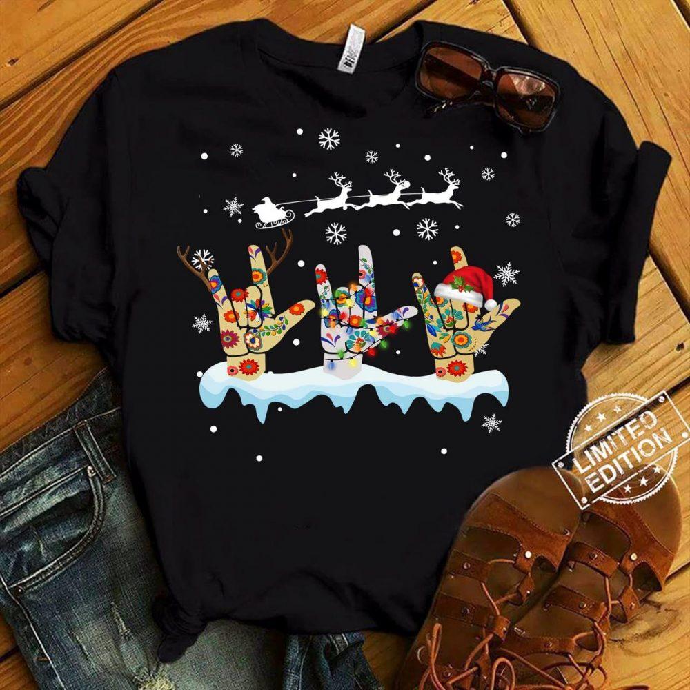 Three Hand Sign Santa Christmas Shirt