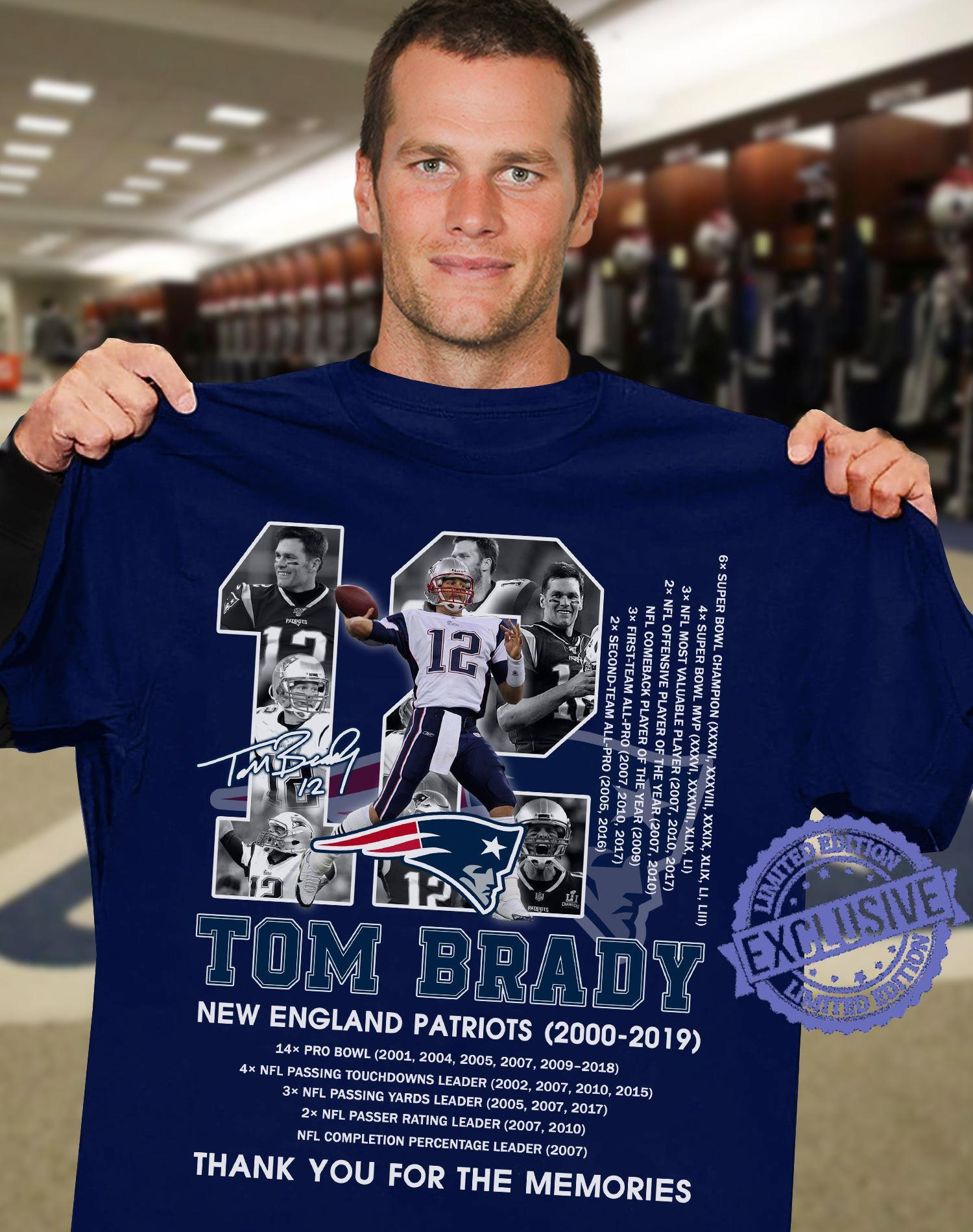 Tom brady new england patriots 2000 2019 thank you for the memories shirt